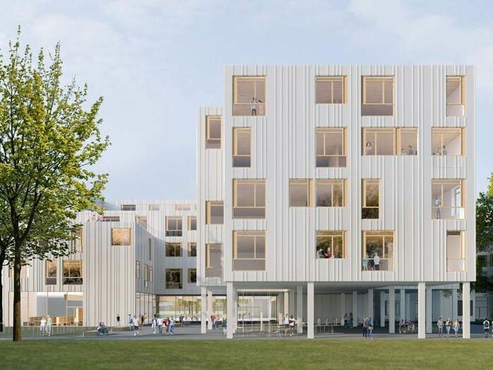 Ein klug gestaffeltes Ensemble in Holzbauweise mit kleinteilig gegliederten Lernhäusern (Ansicht PPAG)