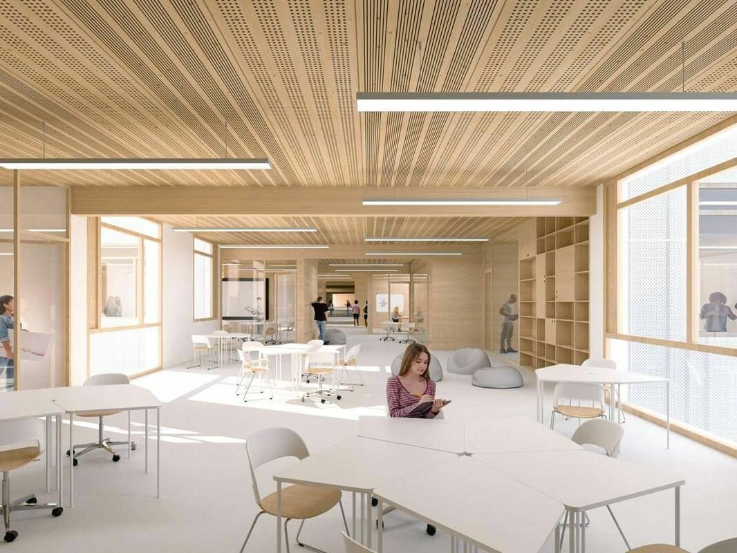 Ein weiteres Beispiel für Offenheit und Transparenz im modernen Schulbau: Schule an der Allee der Kosmonauten (Visualisierung PPAG Architekten Wien/Berlin)