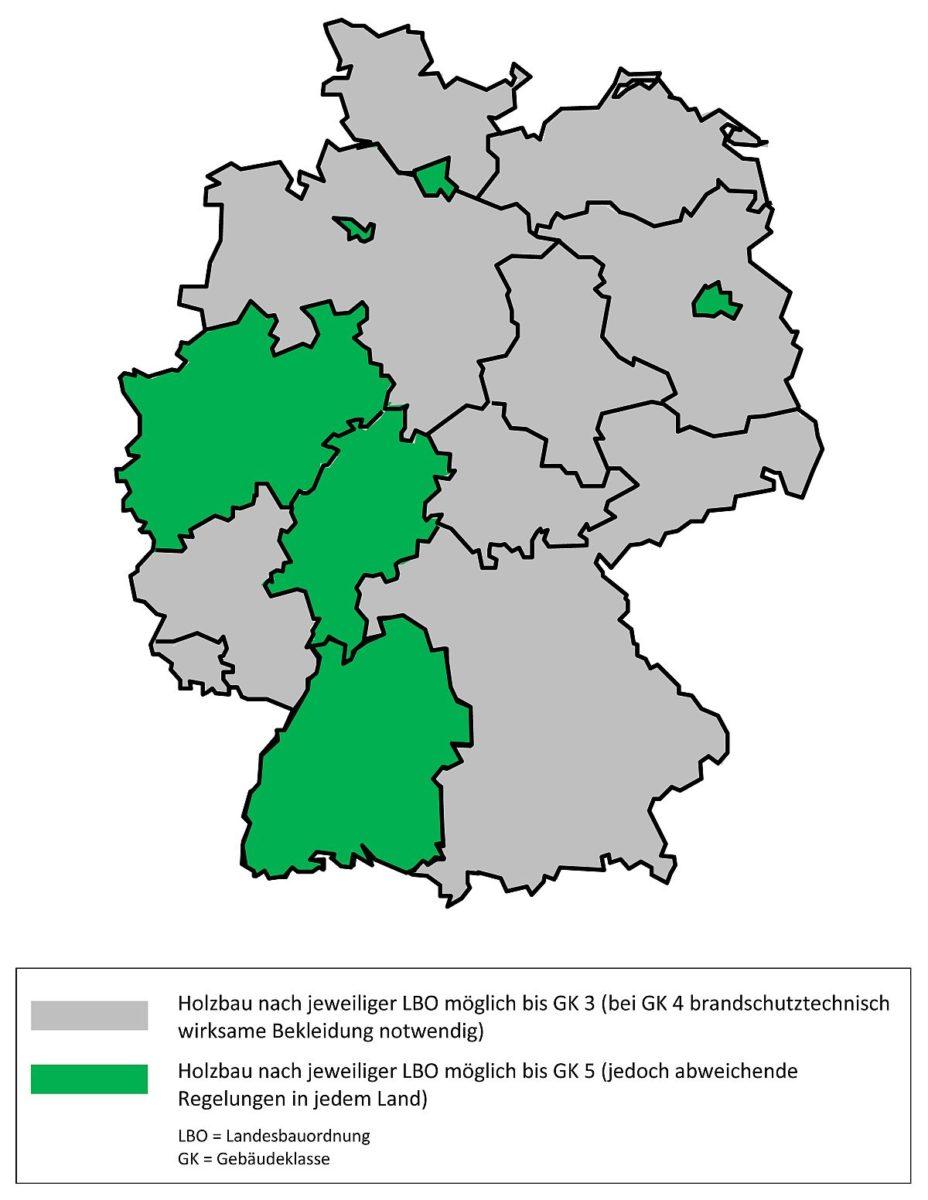 Übersichtskarte: Holzbau in den Landesbauordnungen der Bundesländer