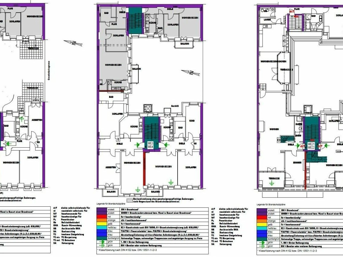 Am Falkplatz 2, Berlin-Prenzlauer Berg_Modernisierung Mehrfamilienhaus_brandschutz plus eberl-pacan brandschutzplaner_Zeichnung Brandschutzkonzept Grundriss