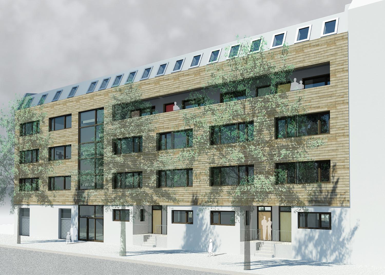 Wohnhaus Streustraße 72-73 – 13086 Berlin-Pankow_brandschutz plus eberl-pacan brandschutzplaner_Visualisierung Straßenansicht