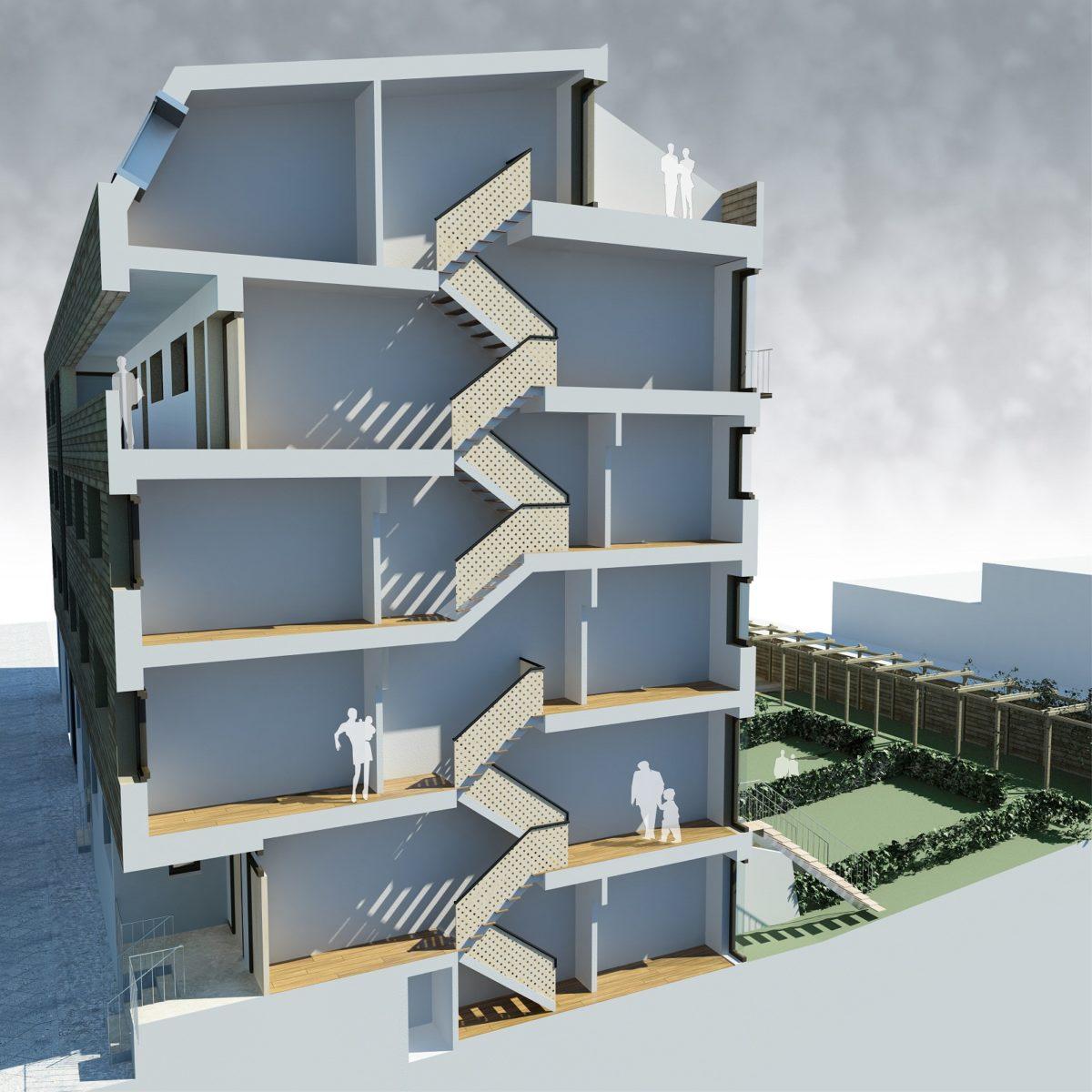Wohnhaus Streustraße 72-73 – 13086 Berlin-Pankow_brandschutz plus eberl-pacan brandschutzplaner_Visualisierung Schnitt Treppenhaus