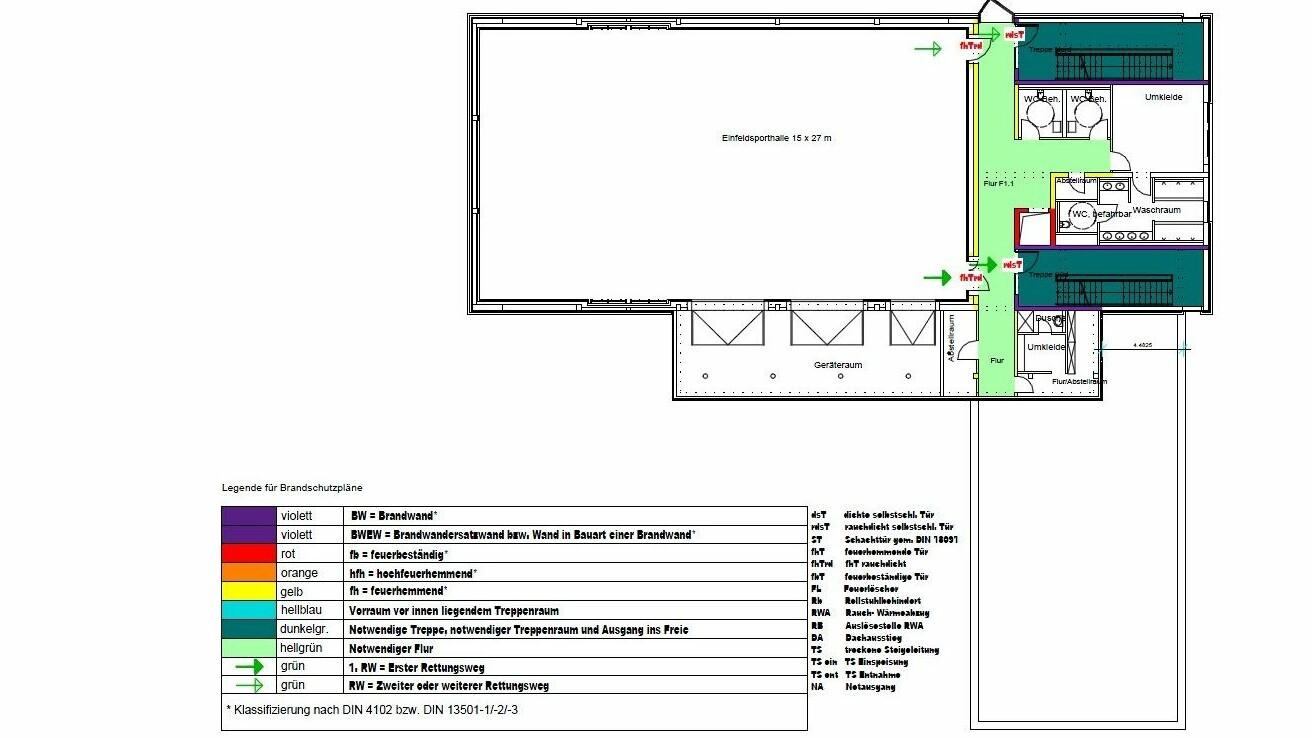 Friedrich-Bergius-Oberschule Berlin_brandschutz plus eberl-pacan brandschutzplaner_Plan Brandschutzkonzept Grundriss EG