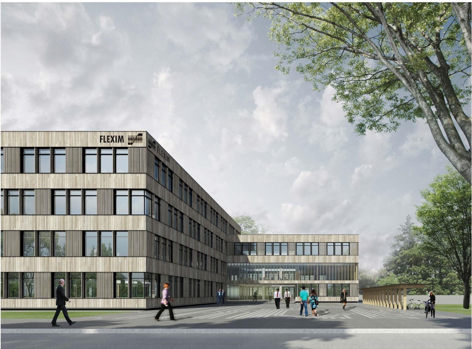 Neubau Firmengebäude Flexim GmbH Berlin_brandschutz plus eberl-pacan brandschutzplaner_Berlin_Holz Beton Hybridbau Perspektive