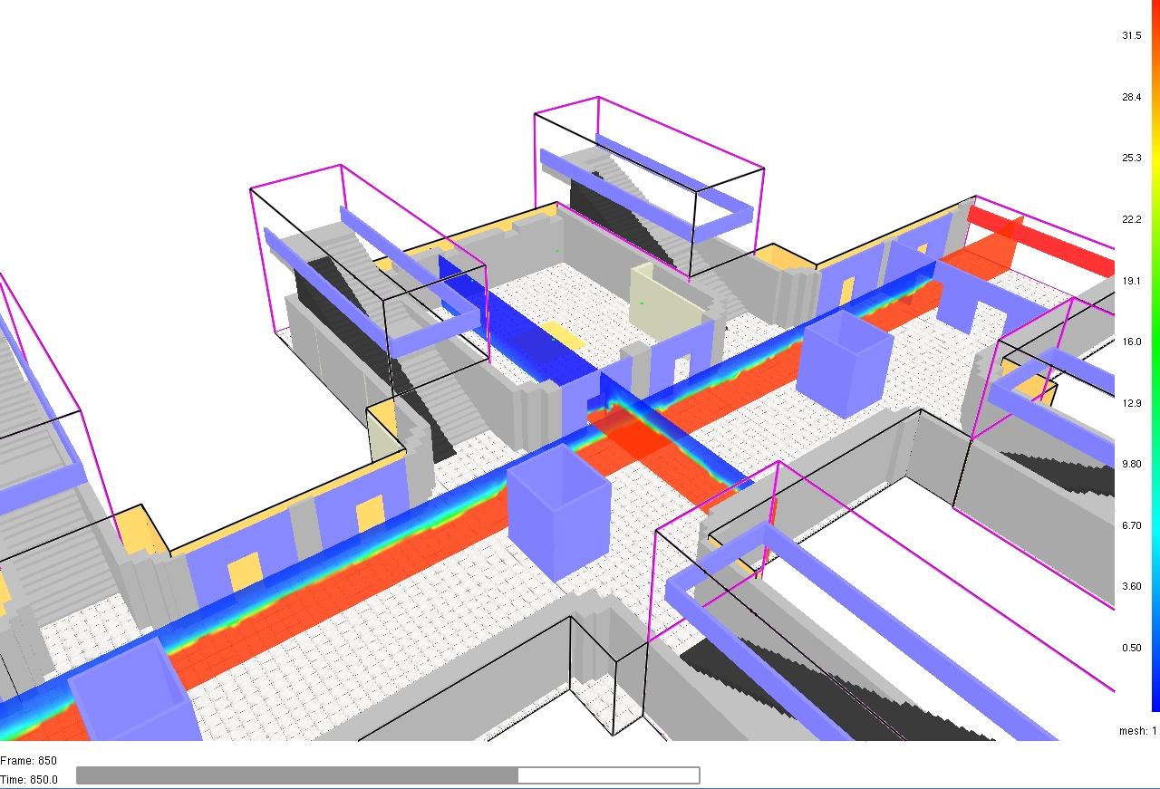 Simulation eines Brandes in einem Gebäude Grafik_Ing. Michael Pulker_MSc