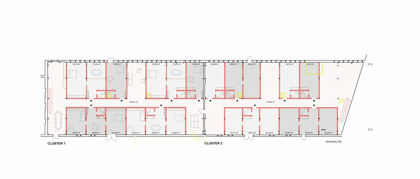 Hof Prädiko_Kuhstall_Grundriss Clusterbildung_Quelle-Hütten & Paläste
